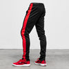 Slim Trackies - Black/ Red Stripe