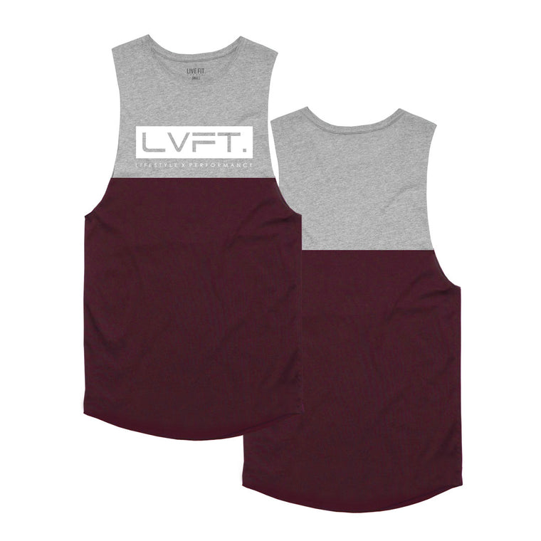 Divided Tank - Heather Grey / Burgundy White