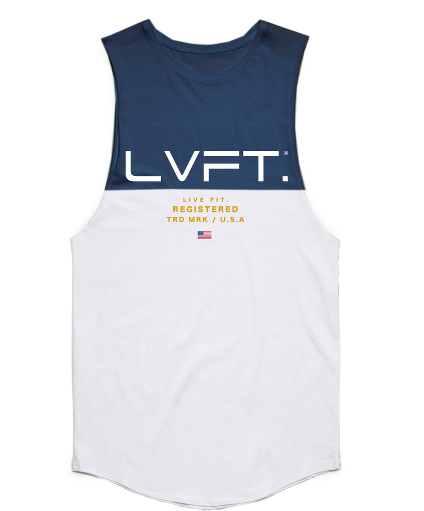 Live Fit Apparel Divided Tank -Navy/White - LVFT