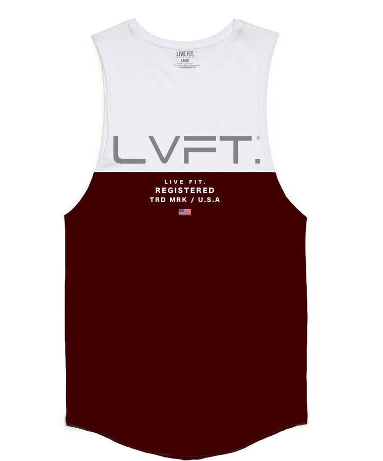 Divided Tank -White/Burgundy