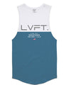 Live Fit Apparel Divided Tank -White/Aqua - LVFT.