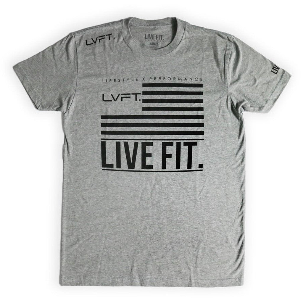 LVFT Flag Tee- Heather Grey/Black