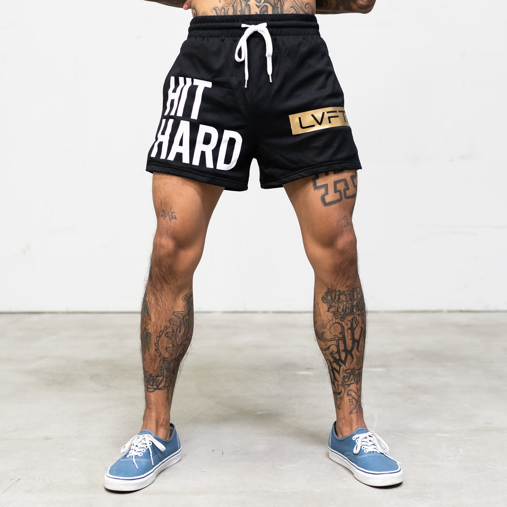 Hit Hard Mesh Kick Boxing Shorts - White