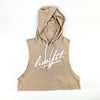 Strike Crop Sleeveless Hoodie - Tan