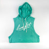 Strike Crop Sleeveless Hoodie - Teal