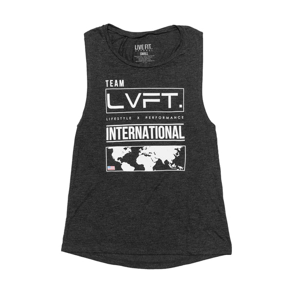 Womens International Muscle Tank- Charcoal
