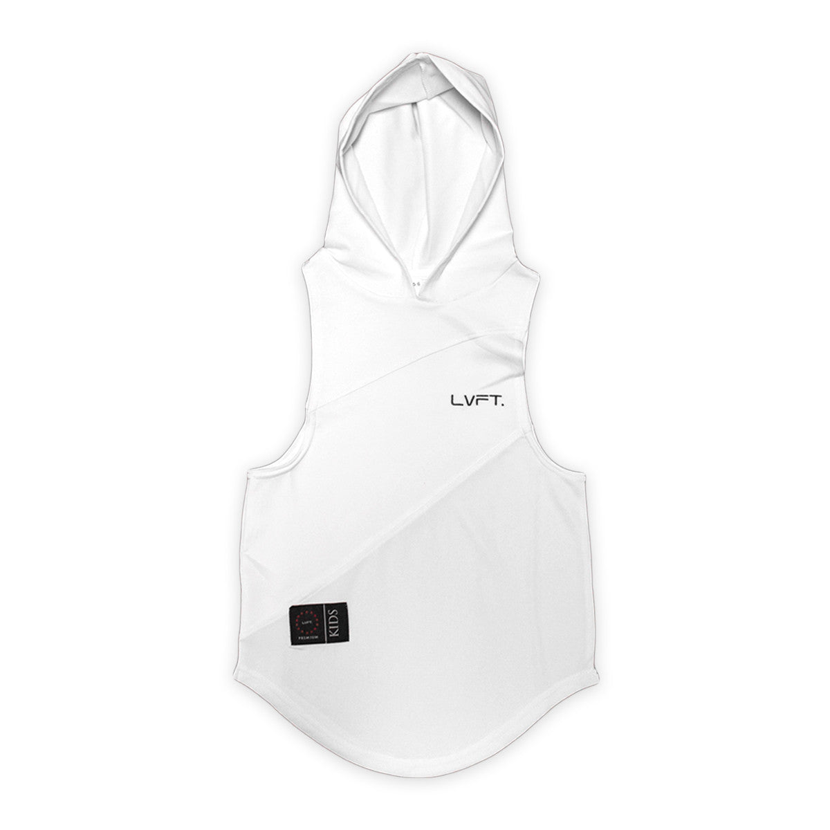 Kid's 3 Panel Cut Off Hoodie- White