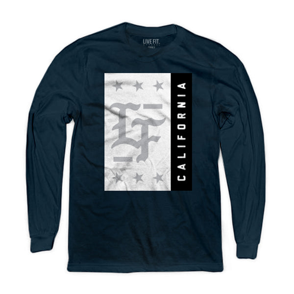 Stamped Long Sleeve- Navy