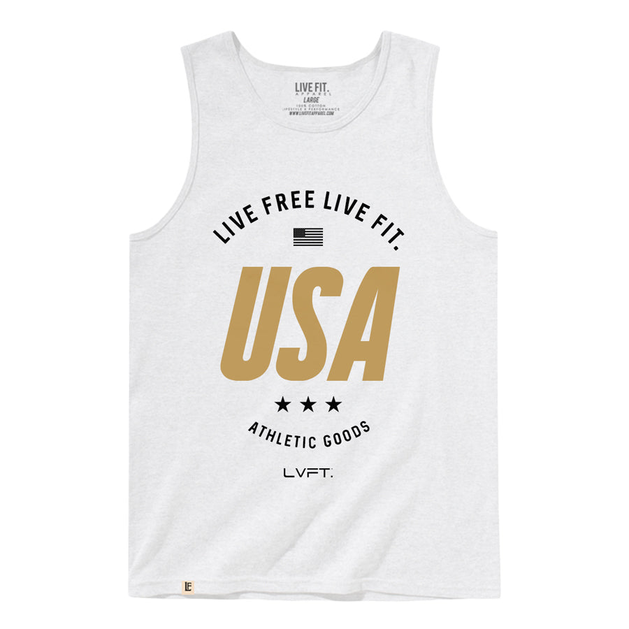 Live Fit Apparel Live Free Tank - White - LVFT