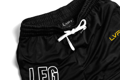 LEG CHECK Mesh Kick Boxing Shorts - Black / Yellow