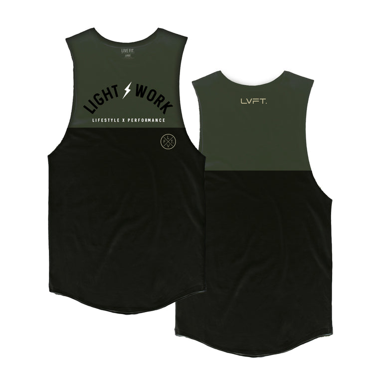 Light Work Split Tank - Olive / Black