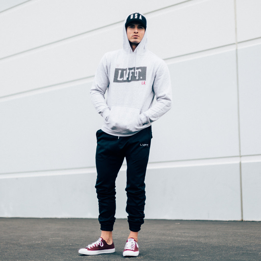 Banner Hoodie- Heather Grey