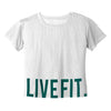 Ladies Mesh Crop Tees - White/Turquoise