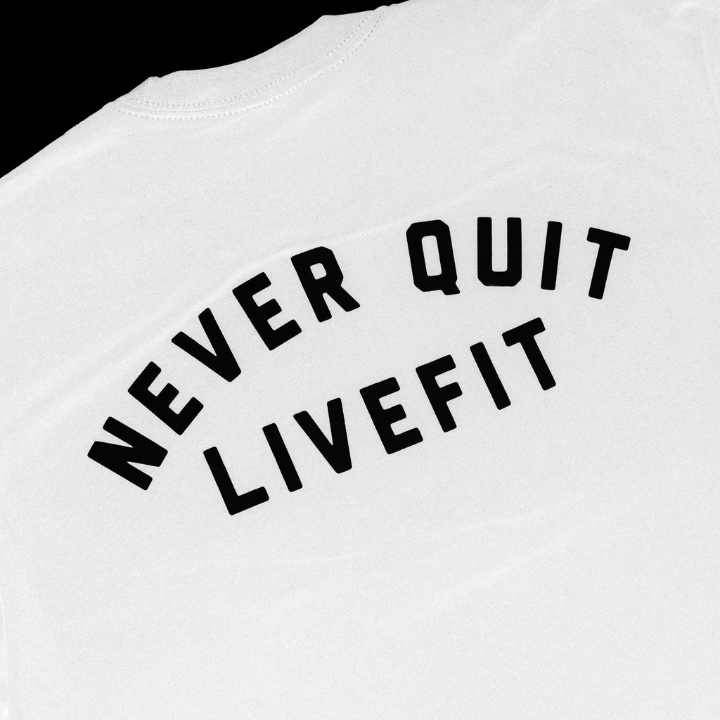 Never Quit Tee- White/black
