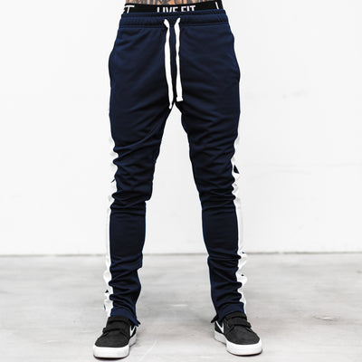 Live Fit Apparel LVFT. Slim Trackies - Navy/White - LVFT