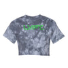 Outline Tie Dye Crop Tee  - Grey - Neon Green