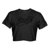 Puffy Varsity Script Crop Tee - Black