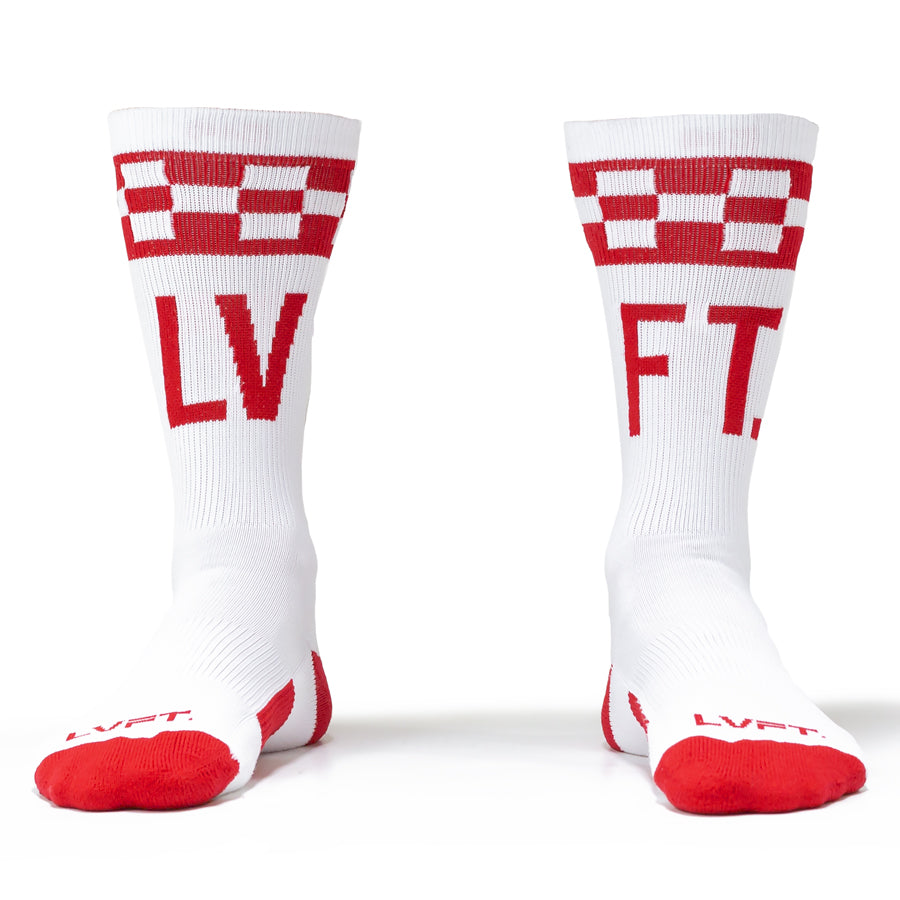Live Fit Apparel Checker Socks - White/Red - LVFT