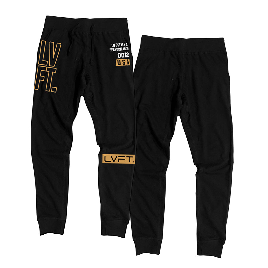 Outline Stacked Joggers - Gold/Black