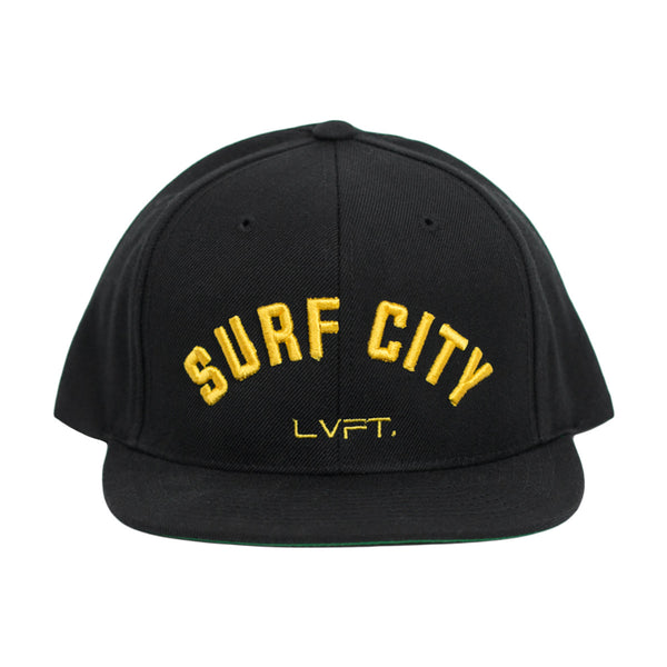 Surf City Snapback- Black/Yellow