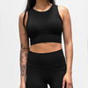 Seamless Ribbed Crop Tank- Black