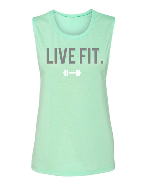 Live Fit Muscle Tank- Mint