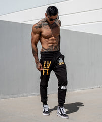 Stacked Joggers - Black/Gold