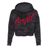 Strike Crop  Hoodie - Black Camo / Infrared