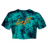 STRIKE Tie Dye Crop Tee  - Teal / Orange