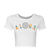 Live Fit Apparel Arch Aloha Crop Tee - White - LVFT