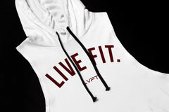 Live Fit Cut Off Hoodie V2 - White