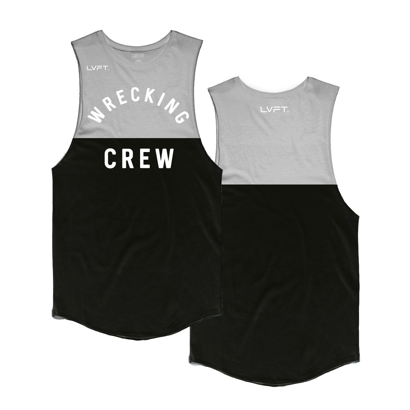 Wrecking Crew Split Tank - Heather Grey / Black