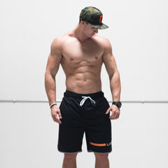 United Active Shorts - Black/Orange