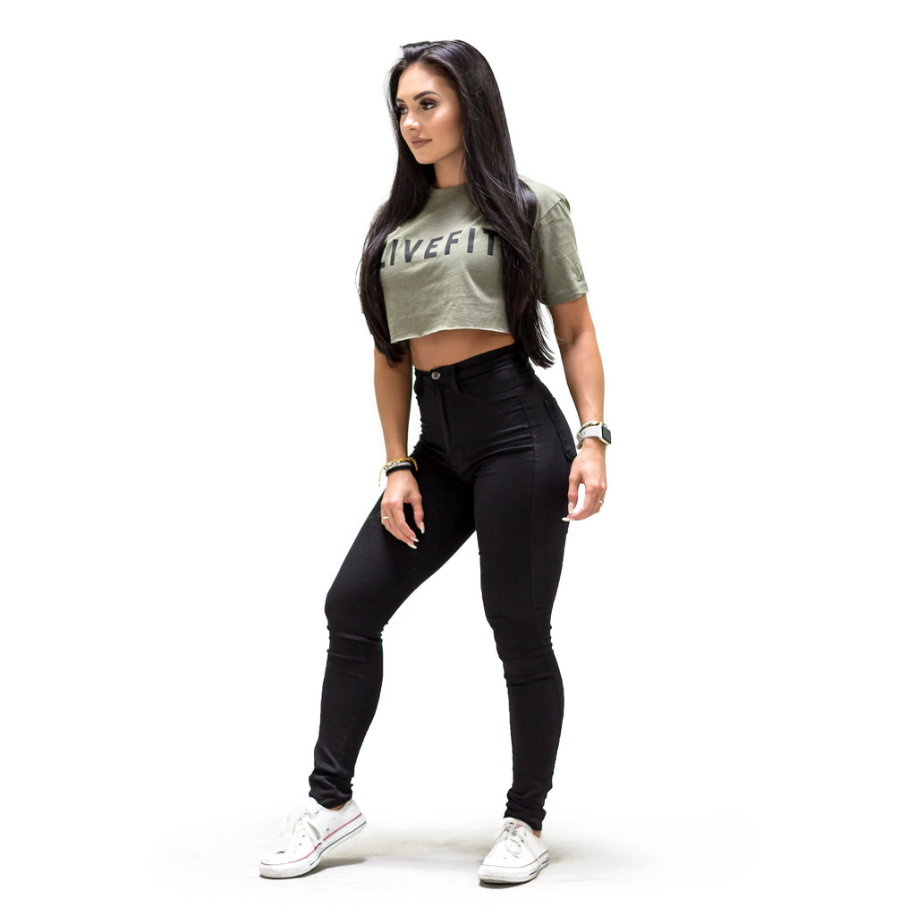 Bold Crop Tee - Military Green