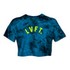 Varsity Tie Dye Crop Tee  - Blue Crystal / Neon Yellow