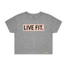 Live Fit Apparel Box Logo Crop Tee - Grey/Pink - LVFT