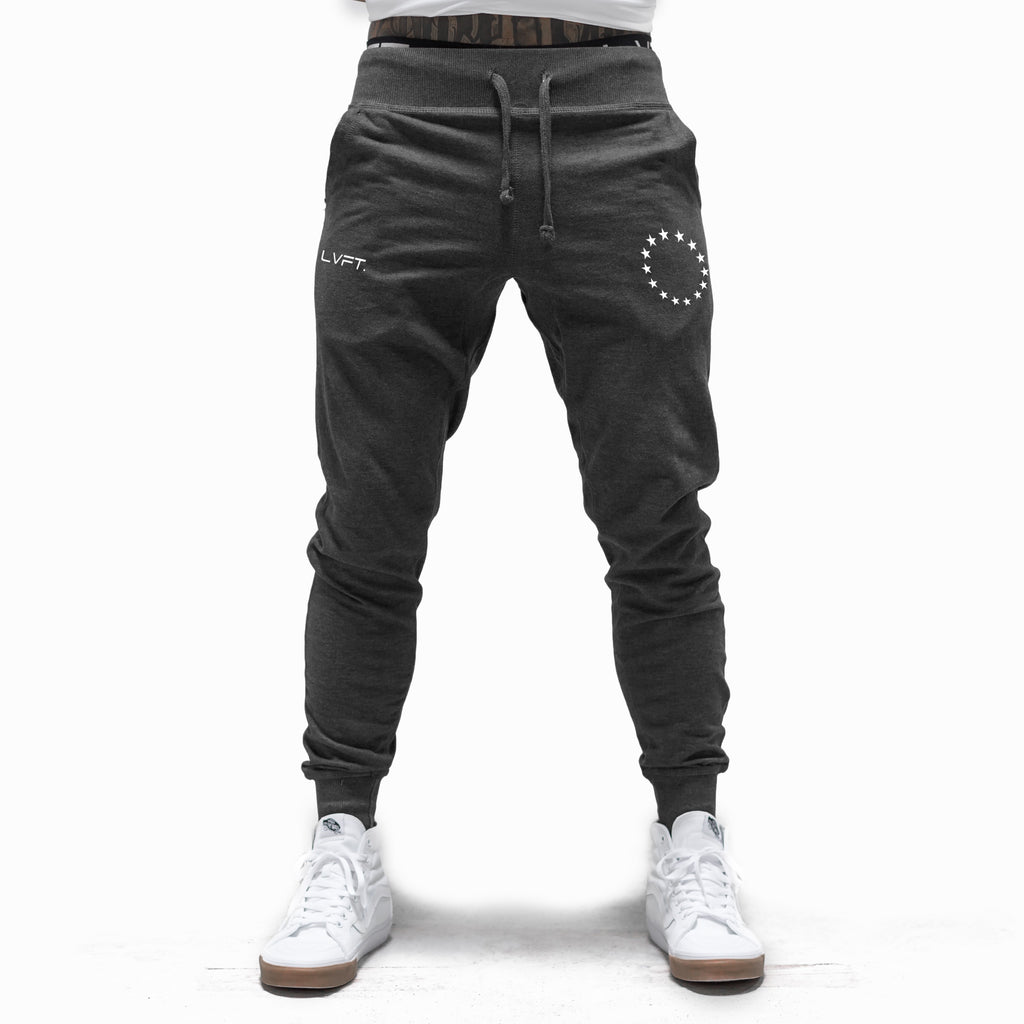 Live Fit Apparel Athlete Joggers - Charcoal / White - LVFT