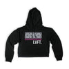 Live Fit Apparel Block Stars Crop Hoodie- Black - LVFT