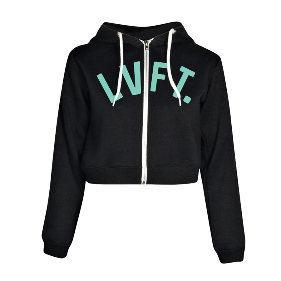 University Crop Zip Hoodie - Black / Mint
