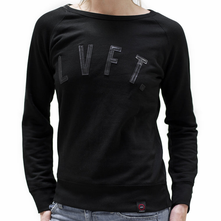 Ladies Leather Cut Out Crewneck