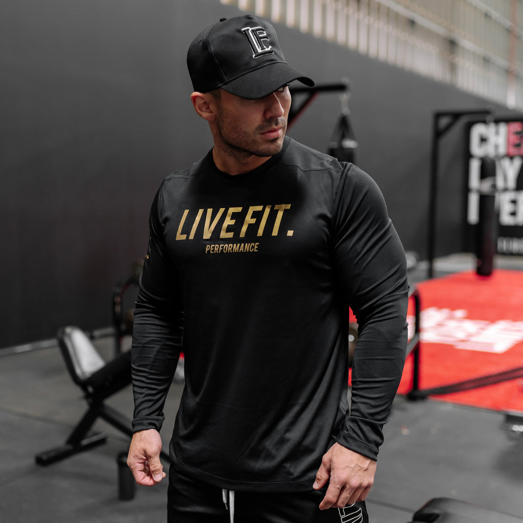 UV-Performance long sleeve- Black/gold