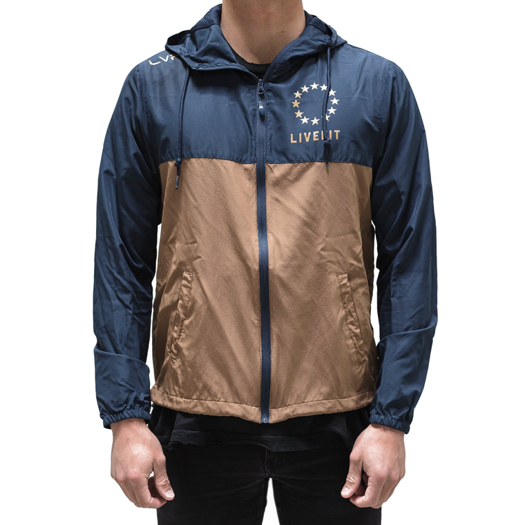 Live Fit Apparel Hardline Windbreaker- Navy/Copper - LVFT