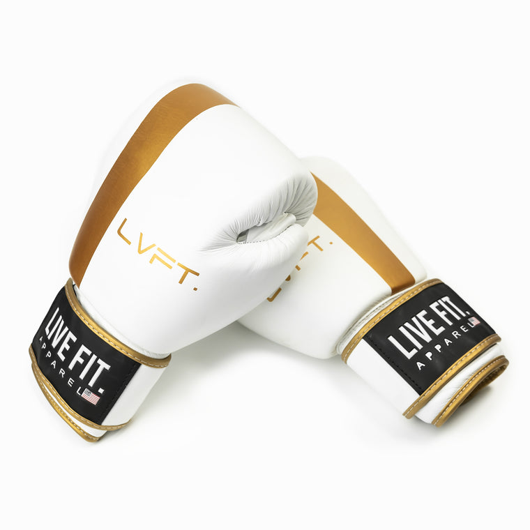 Thai Boxing Gloves - White/Gold