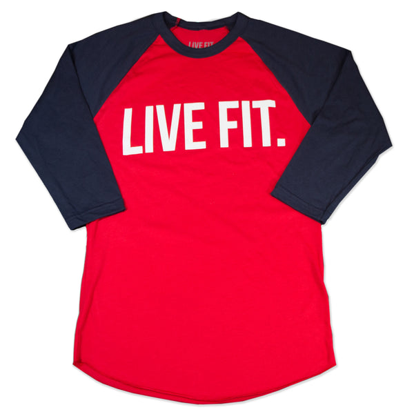 Live Fit. Baseball Raglan - Red/Navy