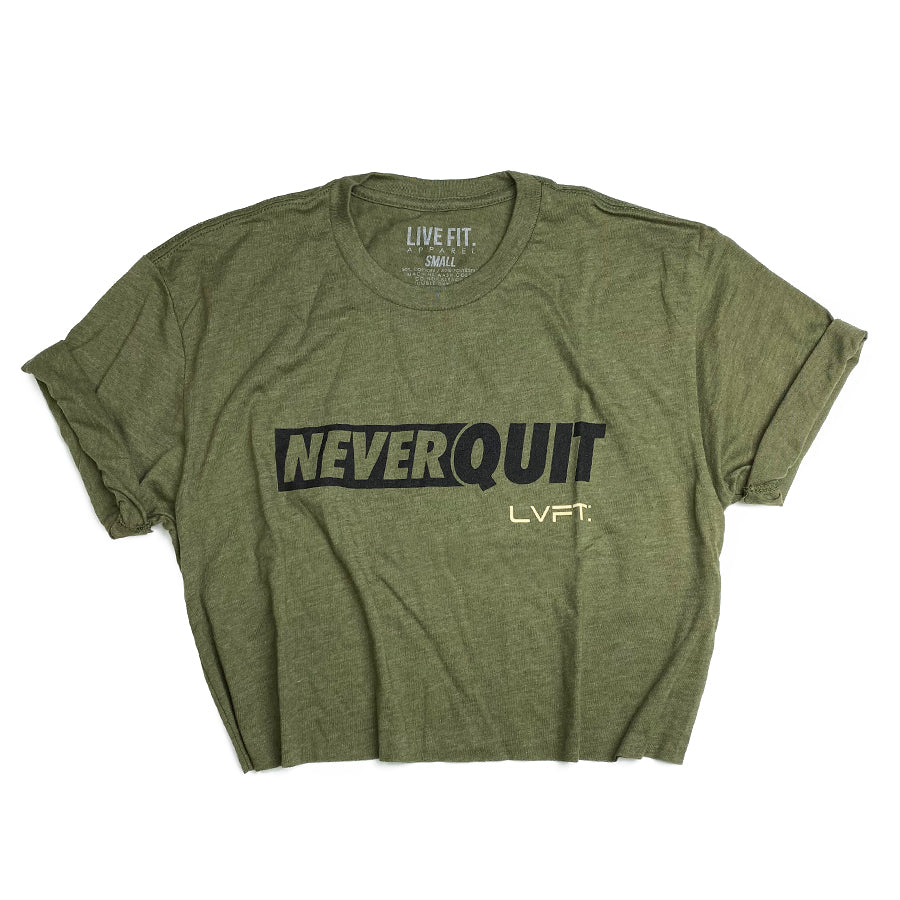Live Fit Apparel NQ Motto Crop Tee - Military Green - LVFT