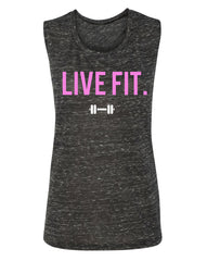 Live Fit Muscle Tank- Black Marble