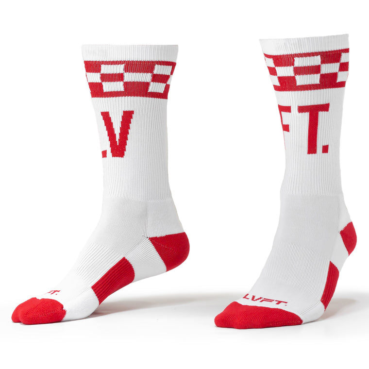 Checker Socks - White/Red
