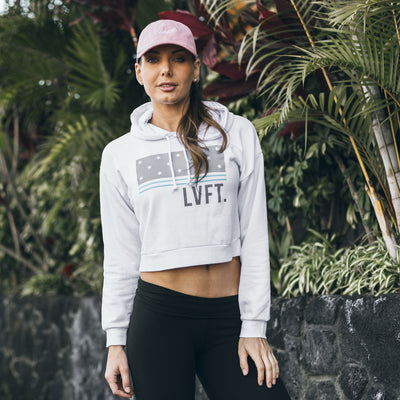 Live Fit Apparel Block Stars Crop Hoodie- White/Teal - LVFT