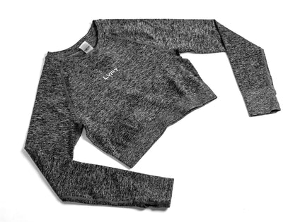 Seamless Long Sleeve Crop  - Heather grey