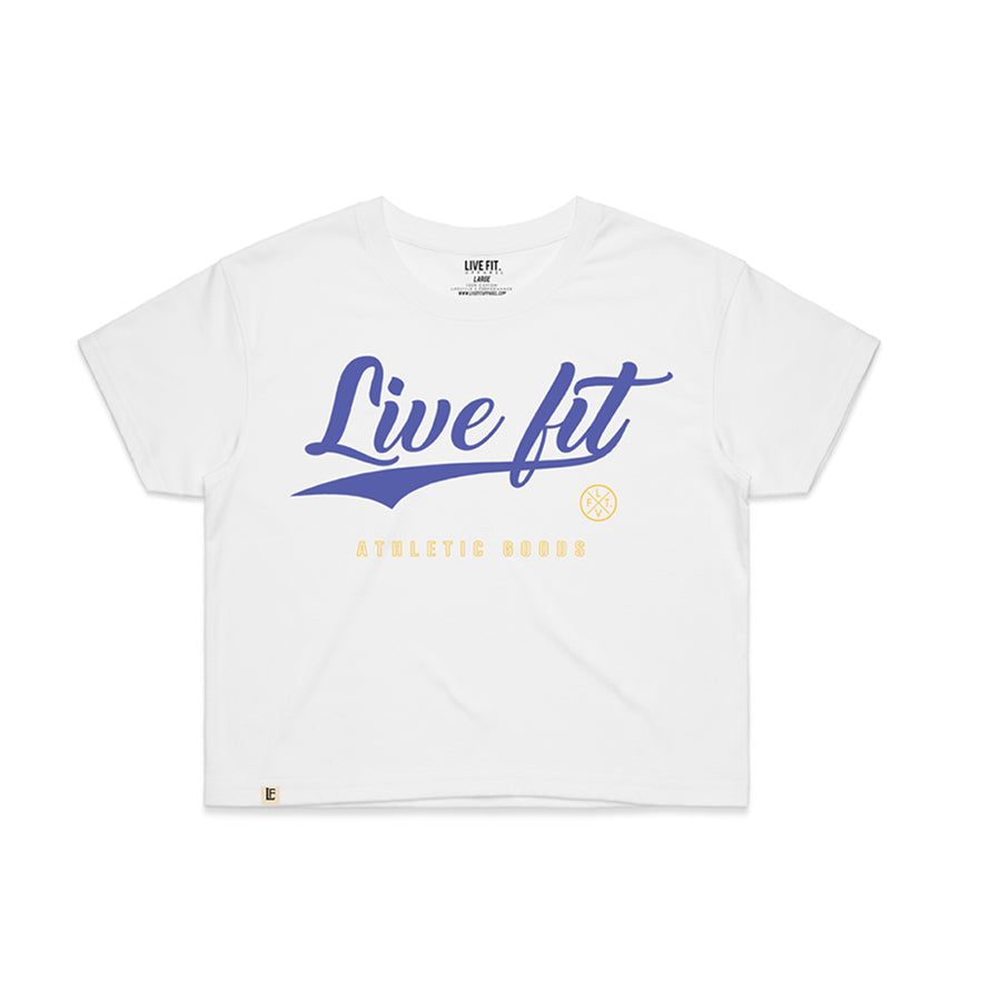 Stadium Crop Tee - White / Purple